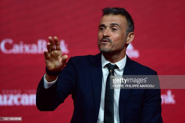 Spain's new coach Luis Enrique talks to the press during his official presentation as Spain's national football team new coach on July 19, 2018 at...