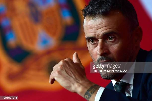 Spain's new coach Luis Enrique talks to the press during his official presentation as Spain's national football team new coach on July 19 2018 at Las...