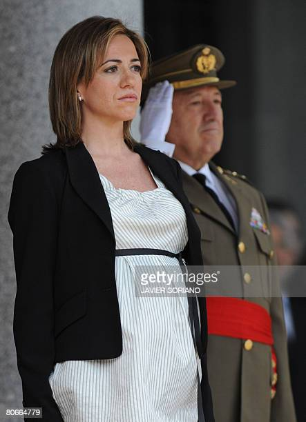 Spain's new Defence Minister Carme Chacon takes part in a ceremony at the defence ministry after being sworn into office earlier today in Madrid on...