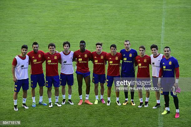 Spain's new players pose during a training session in Schruns, Austria, on May 27, 2016 preparing for the upcoming Euro 2016 European football...