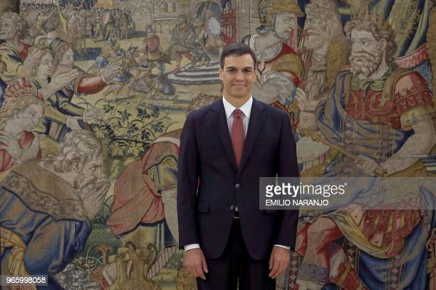 Spain's new Prime Minister Pedro Sanchez smiles during a swearingin ceremony at the Zarzuela Palace near Madrid on June 2 2018 Spain's Socialist...