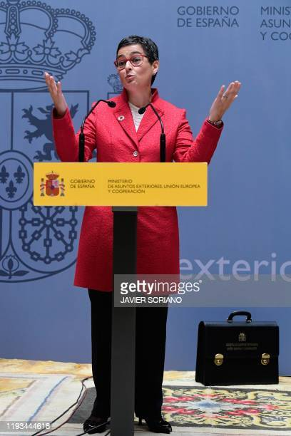 Spain's newly appointed Foreign Minister Arancha Gonzalez Laya gives a speech during a ceremony in Madrid on January 13 2020 Spain's socialist Prime...