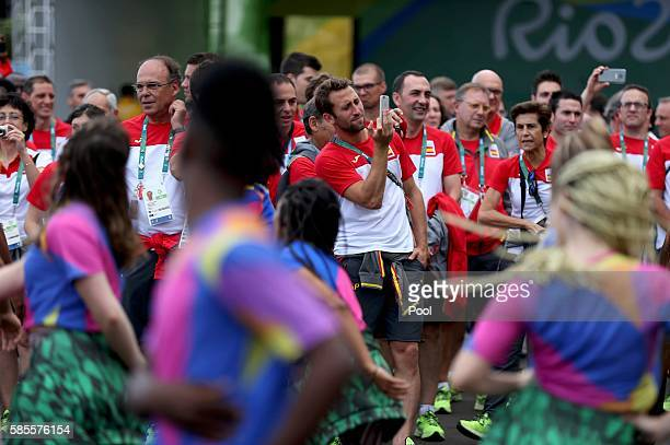 Spain's Olympic team arrives to a welcoming ceremony at the Olympic Village August 3 2016 in Rio de Janeiro Brazil
