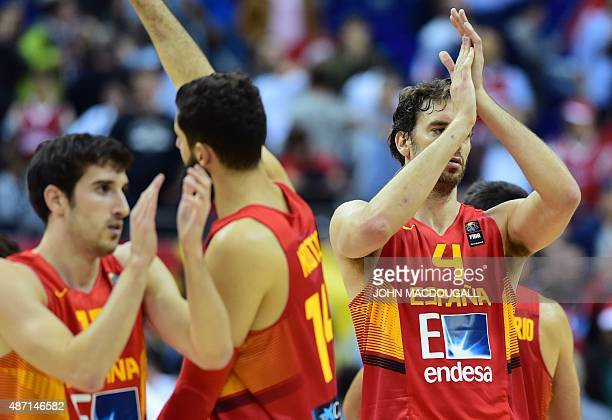 Spain's Pau Gasol celebrates after Spain defeated Turkey during the EuroBasket group B match Turkey vs Spain in Berlin September 6 2015 AFP PHOTO /...