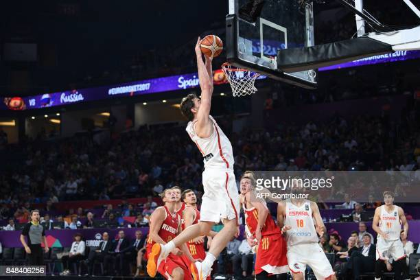 TOPSHOT Spain's Pau Gasol goes for the basket during the FIBA Eurobasket 2017 men`s 3rd game match between Spain and Russia at Fenerbahce Ulker Sport...