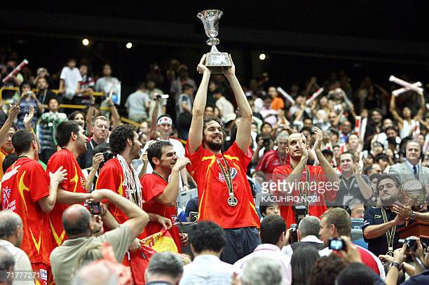 Spain's Pau Gasol holds up the champion trophy during an awarding ceremony after the final of the World Basketball Championship, in Saitama, 03...
