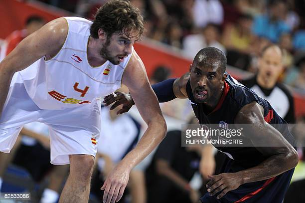 Spain's Pau Gasol vies with USA's Kobe Bryant during the men's basketball gold medal match Spain against The US of the Beijing 2008 Olympic Games on...