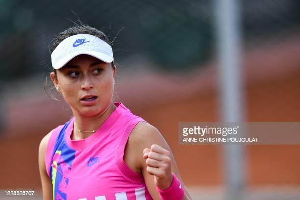 Spain's Paula Badosa celebrates after winning a point against Sloane Stephens of the US during their women's singles second round tennis match on Day...