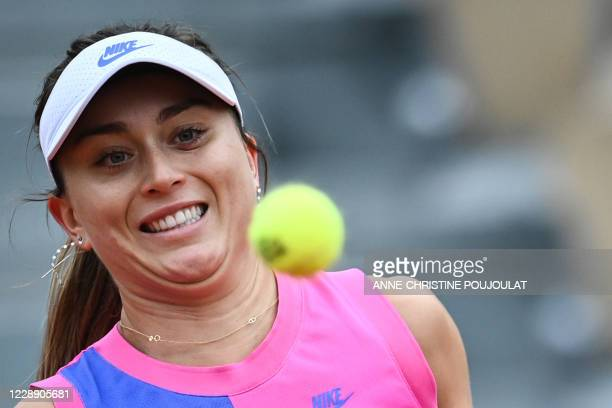 Spain's Paula Badosa eyes the ball as she returns it to Germany's Laura Siegemund during their women's singles fourth round tennis match on Day 9 of...
