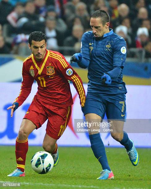 Spain,s Pedro during the FIFA 2014 World Cup qualifying round group I soccer match, France Vs Spain at Stade de France in Saint-Denis suburb of...