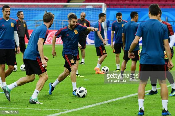 Spain's players attend a training session in Kazan on June 19 2018 ahead of their Russia 2018 World Cup Group B football match against Iran