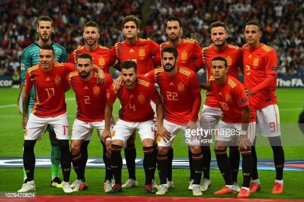 Spain's players back row Spain's goalkeeper David De Gea Spain's defender Sergio Ramos Spain's defender Marcos Alonso Spain's midfielder Sergio...