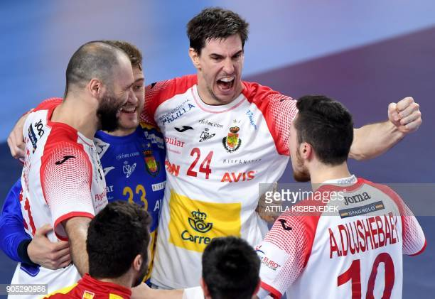 Spain's players celebrate their victory over Hungary in Varazdin Arena on January 15 2018 after their group D match during the 13th Men's European...