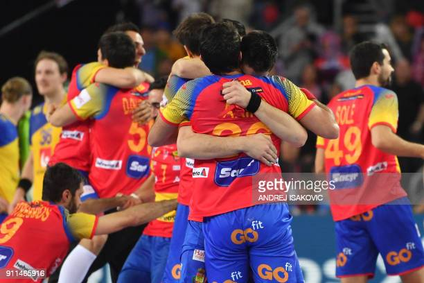 Spain's players celebrate winning the final match of the Men's 2018 EHF European Handball Championship between Spain and Sweden on January 28 2018 in...