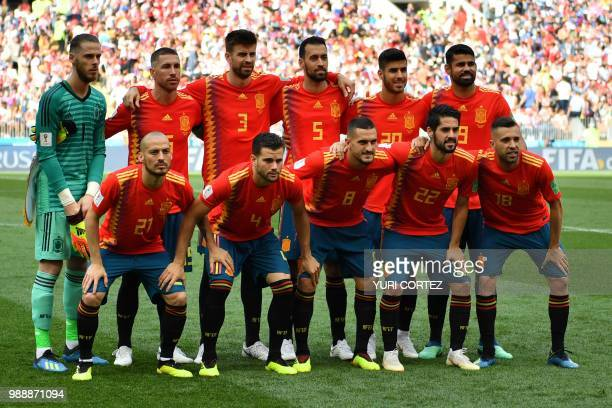 Spain's players goalkeeper David De Gea defender Sergio Ramos defender Gerard Pique midfielder Sergio Busquets forward Marco Asensio forward Diego...