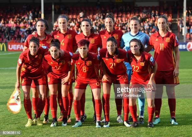 Spain's players Marta Torrejón Vicky Losada Amanda Sampedro Leila Ouahabi Mariona Caldentey Silvia Meseguer Irene Paredes Andrea Pereira Jennifer...