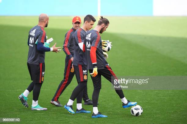Spain's players Pepe Reina Kepa Arrizabalaga and David De Gea during the training session of Spain's national football team at the La Ceramica...