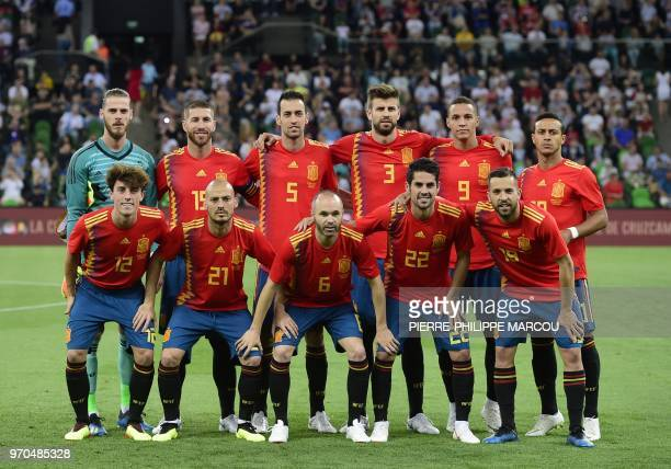 Spain's players pose before the friendly football match between Spain and Tunisia at Krasnodar's stadium on June 9 2018