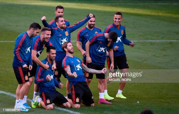 Spain's players pose for a photo during a training session at El Molinon stadium in Gijon on September 7 on the eve of the UEFA Euro 2020 qualifier...
