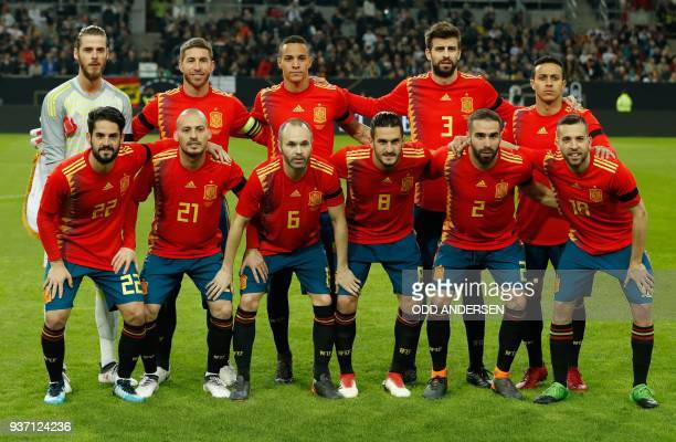 Spain's players pose for a team photo prior to the international friendly football match of Germany vs Spain in Duesseldorf western Germany on March...