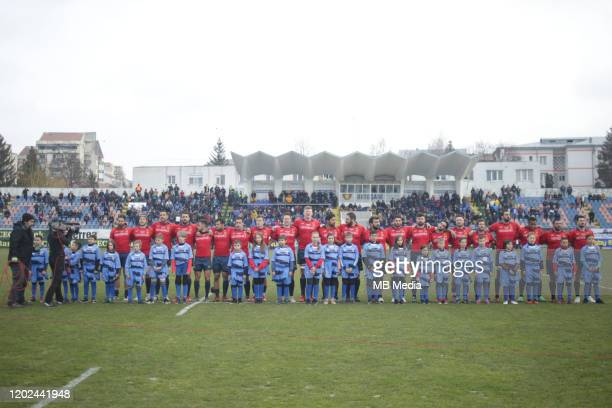 Spains players prior the Rugby Europe International Championship round three match between Romania and Spain at Botosani Municipal Stadium on...