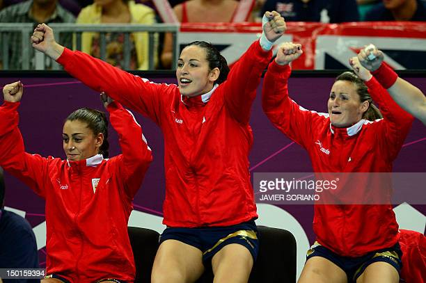 Spain's players react during the women's bronze medal handball match South Korea vs Spain for the London 2012 Olympics Games on August 11 2012 at the...