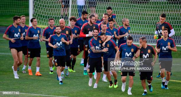 Spain's players take part in a training session at Krasnodar Academy on June 28 during the Russia 2018 World Cup football tournament