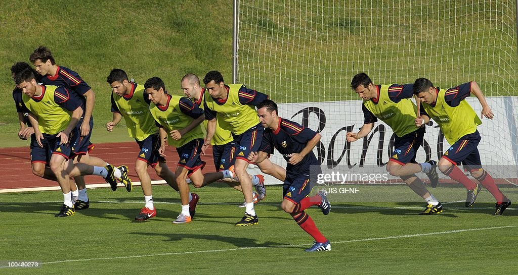 Spain's players take part in a training session of the Spanish football team with Spain's Prince Felipe on May 24, 2010, at the Sports City of Las Rozas, near Madrid. Spain, among the favourites for the World Cup, which runs from June 11-July 11, face Switzerland, Honduras and Chile in Group H of the opening round.