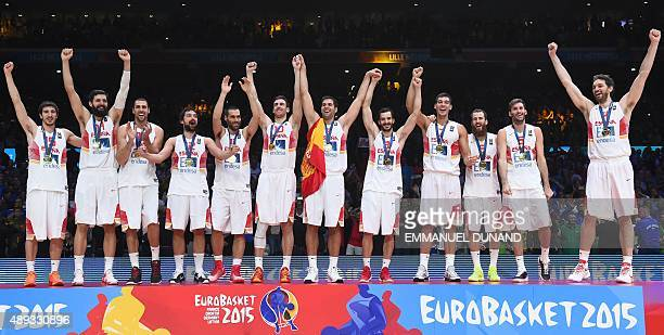 Spain's point guard Guillem Vives Spain's center Nikola Mirotic Spain's power forward Pablo Aguilar Spain's point guard Sergio Llull Spain's forward...
