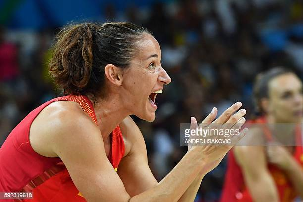 Spain's point guard Laia Palau cheers on during a Women's Gold medal basketball match between USA and Spain at the Carioca Arena 1 in Rio de Janeiro...