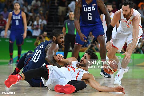 Spain's point guard Ricky Rubio vies with USA's guard Kyrie Irving during a Men's semifinal basketball match between Spain and USA at the Carioca...