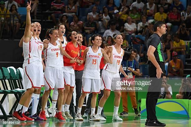 Spain's power forward Laura Nicholls Spain's centre Lucila Pascua Spain's point guard Laia Palau Spain's power forward Laura Nicholls and Spain's...