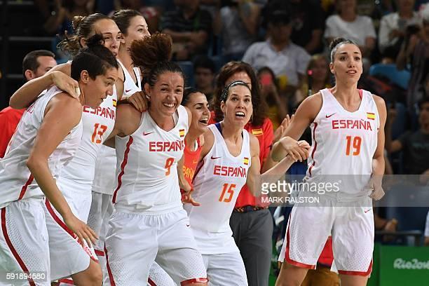 Spain's power forward Laura Nicholls Spain's centre Lucila Pascua Spain's point guard Laia Palau Spain's guard Anna Cruz and Spain's forward Laura...