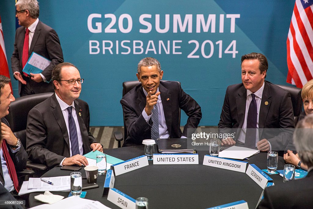 Spain's President Mariano Rajoy Brey, Italy's Prime Minister Matteo Renzi, President of France Francois Hollande, U.S. President Barack Obama, Britain's Prime Minister David Cameron, Germany's Chancellor Angela Merkel and European Commission President Jean-Claude Juncker attend the Transatlantic Trade and Investment Partnership (TTIP) meeting at the G20 Summit on November 16, 2014 in Brisbane, Australia. World leaders have gathered in Brisbane for the annual G20 Summit and are expected to discuss economic growth, free trade and climate change as well as pressing issues including the situation in Ukraine and the Ebola crisis.