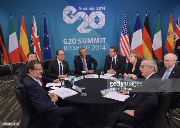 Spain's President Mariano Rajoy Brey Italy's Prime Minister Matteo Renzi France's President Francois Hollande US President Barack Obama Britain's...