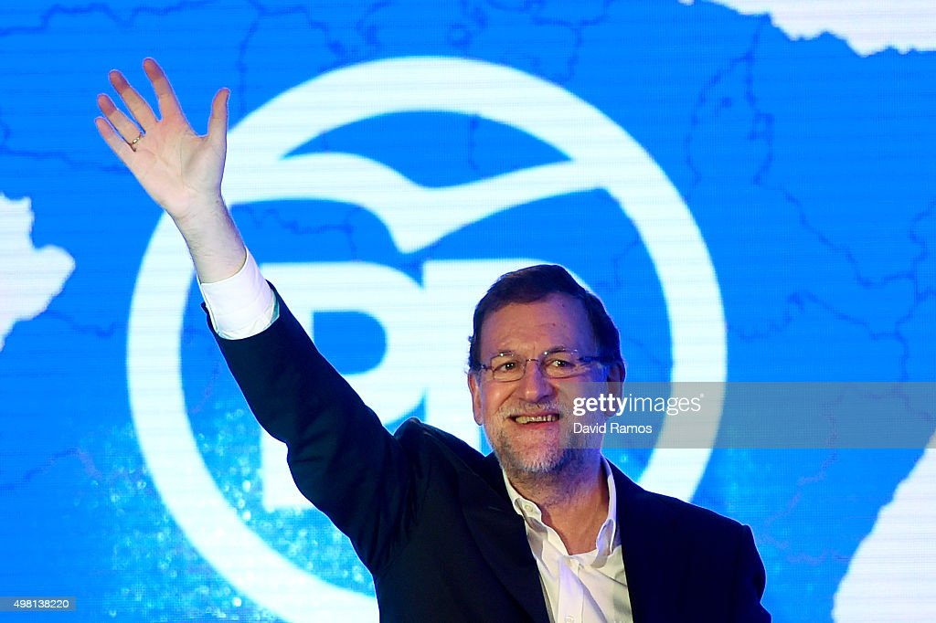 Spain's Prime Minister and President of Partido Popular (People's Party) Mariano Rajoy waves during the official presentation of the Partido Popular (People's Party) candidates on November 21, 2015 in Barcelona, Spain. Spain's Prime Minister and President of the 'Partido Popular', (People's Party) Mariano Rajoy presented their candidates today in Barcelona ahead of Spain's elections which will take place on December 20.