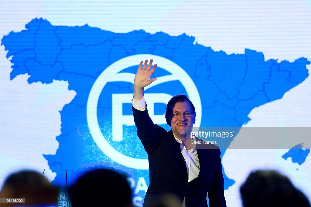 Spain's Prime Minister and President of Partido Popular (People's Party) waves during the official presentation of the Partido Popular (People's Party) candidates on November 21, 2015 in Barcelona, Spain. Spain's Prime Minister and President of the 'Partido Popular', (People's Party) Mariano Rajoy presented their candidates today in Barcelona ahead of Spain's elections which will take place on December 20.