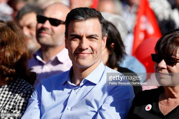 Spain's Prime Minister and Spanish Socialist Workers' Party leader Pedro Sanchez attends the closing rally on April 26 2019 in Madrid Spain Spaniards...