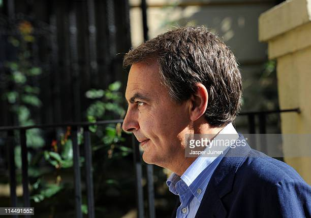 Spain's Prime Minister Jose Luis Rodriguez Zapatero arrives at the Colegio Nuestra Senora del Buen Suceso to vote in Spain's regional elections on...