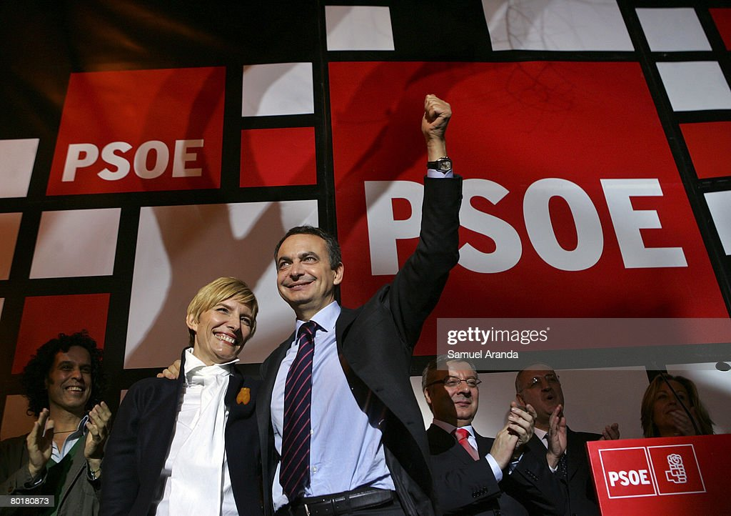 Spain's Prime Minister Jose Luis Rodriguez Zapatero celebrates with his wife Sonsoles Espinosa after winning the General Elections on March 9, 2008 in Madrid, Spain. Spaniards flocked to the polls today after a stinging election campaign henpecked by disagreements over Spain's drooping economy, complaints on the tampering of the Catholic Church in politics and immigration.