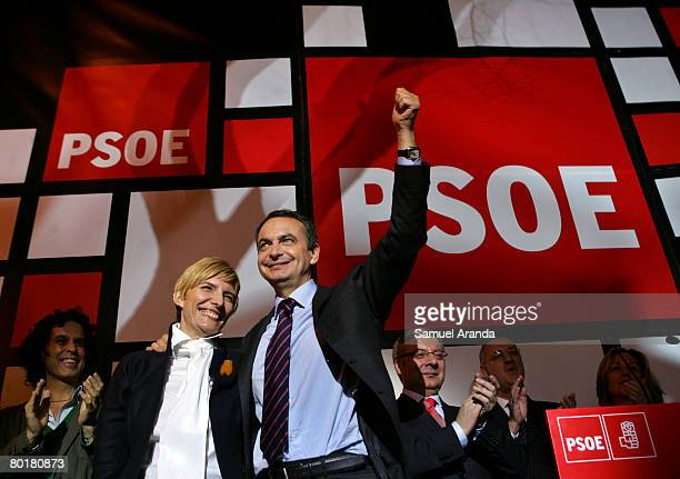 Spain's Prime Minister Jose Luis Rodriguez Zapatero celebrates with his wife Sonsoles Espinosa after winning the General Elections on March 9 2008 in...