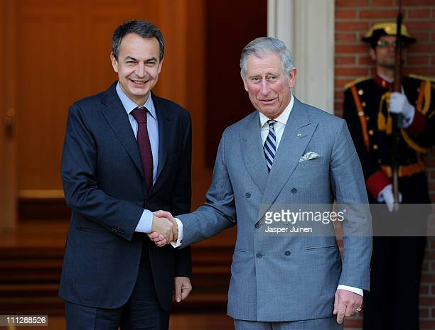 Spain's Prime Minister Jose Luis Rodriguez Zapatero greets Prince Charles Prince of Wales upon his arrival at La Moncloa Palace on March 31 2011 in...