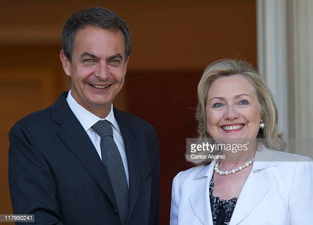 Spain's Prime Minister Jose Luis Rodriguez Zapatero receives US Secretary of State Hillary Clinton at the Moncloa Palace on July 2 2011 in Madrid...