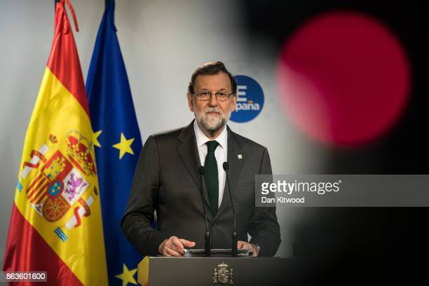Spain's Prime Minister Mariano Rajoy answers questions during a press conference on the second day of European Council meetings at the Council of the...