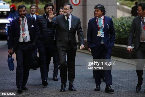 Spain's Prime Minister Mariano Rajoy arrives ahead of the second day of European Council meetings at the Council of the European Union building on...