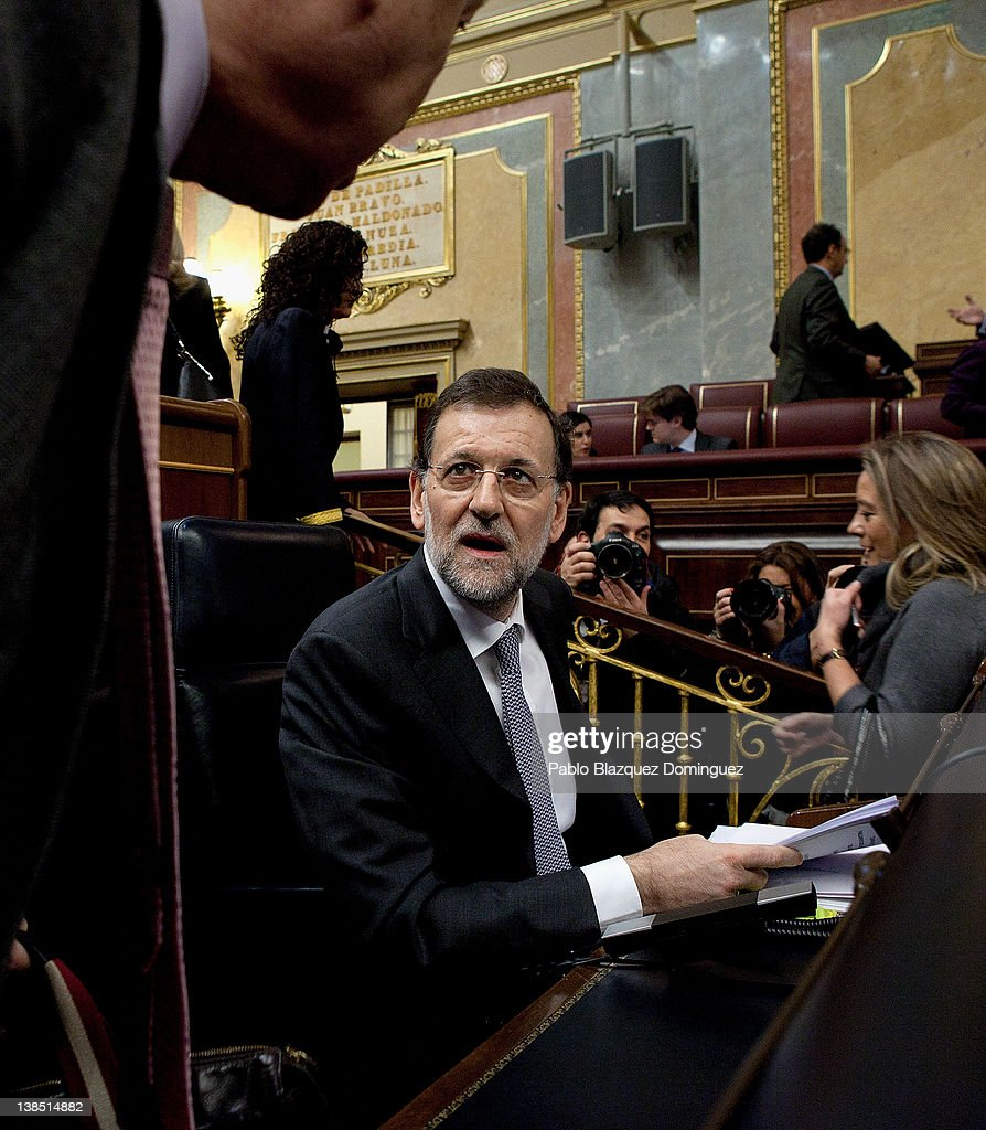 Spanish Prime Minister Mariano Rajoy Speaks In Parliament : News Photo