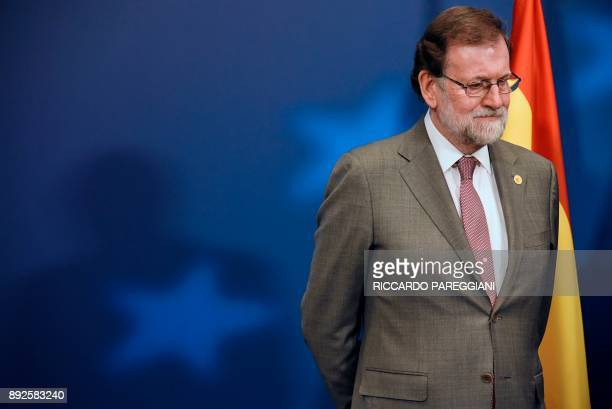 TOPSHOT Spain's Prime minister Mariano Rajoy receives the Princess of Asturias Prize at the EU headquarters in Brussels on December 14 2017 European...