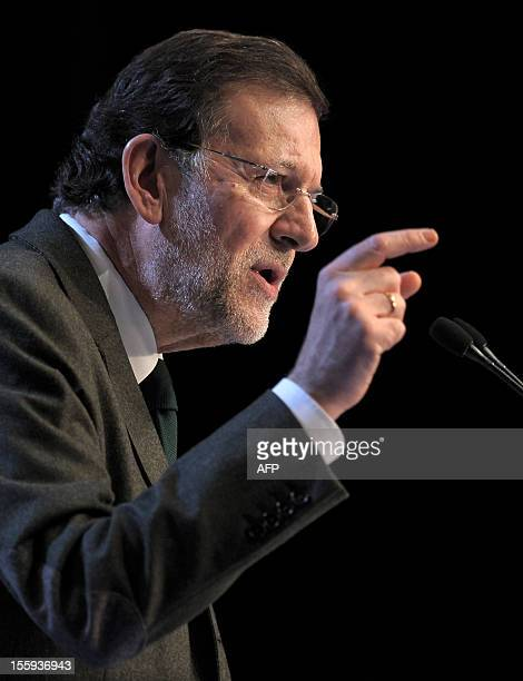 Spain's Prime Minister Mariano Rajoy takes part in a Popular Party campaign meeting on November 9, 2012 in Lleida, ahead of the Catalonia regional...