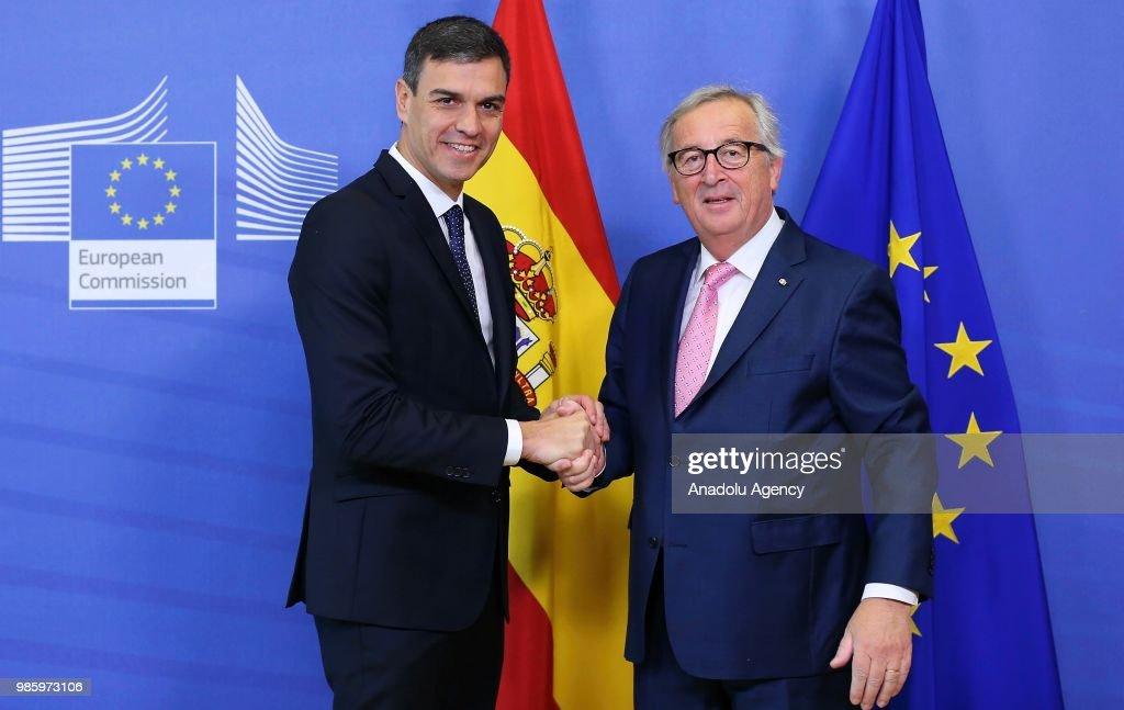 Pedro Sanchez - Jean-Claude Juncker meeting in Brussels : News Photo