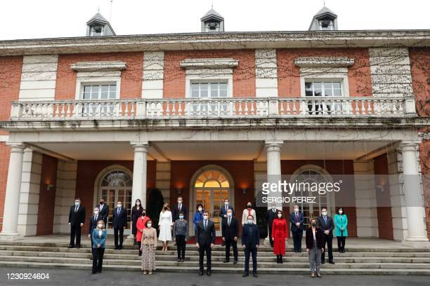 Spain's Prime Minister Pedro Sanchez and his ministers pose for a family photo outside La Moncloa Palace prior to holding the weekly cabinet meeting...